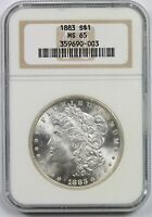 1883 $1 NGC/OLD HOLDER MINT STATE 65 MORGAN SILVER DOLLAR