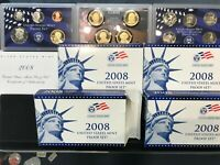 LOT OF 4 SETS 2008 US MINT PROOF SETS WITH BOXES AND COA