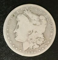 1892-CC MORGAN DOLLAR, ABOUT GOOD BETTER DATE B6K