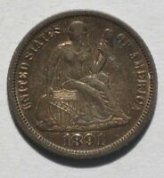 1891 O LIBERTY SEATED DIME   VAR 4 LEGEND   UNSLABBED UNGRAD