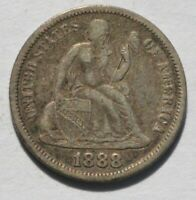 1888 LIBERTY SEATED DIME   VARIETY 4 LEGEND   UNSLABBED UNGR