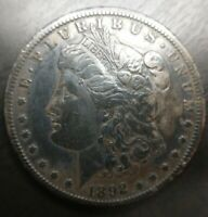 1892 CC MORGAN SILVER DOLLAR EXTRA FINE   FINE DARK ORIGINAL CARSON CITY KEY