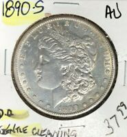 1890-S MORGAN SILVER DOLLAR  AU  GENTLE CLEANING  COIN REF D/D