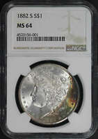 1882-S MORGAN SILVER DOLLAR NGC MINT STATE 64 RAINBOW