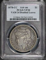 1878-CC TOP 100 VAM-24 DOUBLED LEAVES MORGAN DOLLAR PCGS VF-20