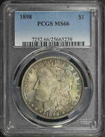 1898 MORGAN DOLLAR PCGS MINT STATE 66 SEA GREEN AND VIOLET TONING