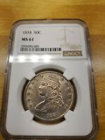 1834 NGC MS61 50C CAPPED BUST HALF DOLLAR NO RESERVE  NR  PC