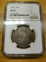 1838 NGC MS61 50C CAPPED BUST HALF DOLLAR NO RESERVE  NR  PC