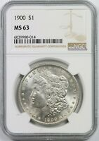 1900 $1 NGC MINT STATE 63 MORGAN SILVER DOLLAR