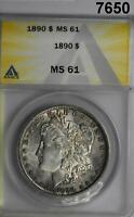 1890 MORGAN SILVER DOLLAR ANACS CERTIFIED MINT STATE 61 7650