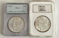 DISCOUNT-- MORGAN SILVER DOLLARS: 1903-PCGS OLD RATTLER MINT STATE 63, 1898-NGC MINT STATE 64