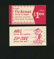 BKC22 US AIRMAIL BOOKLET UNEXPLODED MINT 2  C78 PANES AND 1 1280 PANE