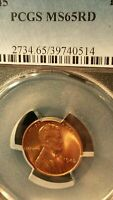 1945 LINCOLN CENT PCGS MINT STATE 65RD GEM GRADE  RED COIN 14