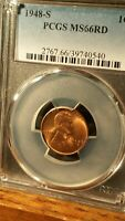 1948-S LINCOLN CENT PCGS MINT STATE 66RD LUSTROUS FULL RED JUST PCGS CERTIFIED 40