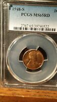 1948-S LINCOLN CENT PCGS MINT STATE 65RD GEM GRADE  RED COIN 22