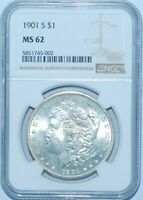 1901 S NGC MINT STATE 62 MORGAN SILVER DOLLAR