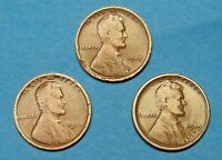 LOT  OF  3  COPPER   1917, 1918, & 1919 S LINCOLN WHEAT CENTS          91115205