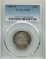1859 O LIBERTY SEATED QUARTER _ PCGS VF 35 _ NO PROBLEMS HERE