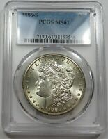 1886-S PCGS MINT STATE 61 MINT STATE MORGAN SILVER DOLLAR $1 US COIN ITEM 26250B