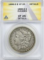 1886-S $1 ANACS VF 25 DETAILS CLEANED MORGAN SILVER DOLLAR
