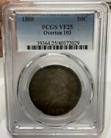 1808 50C OVERTON 103 CAPPED BUST HALF DOLLAR PCGS VF25