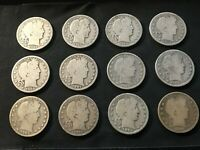 LOT OF  12  US BARBER 50 HALF DOLLAR SILVER COINS ASSORTED D