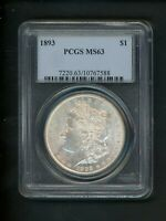 1893 US MORGAN SILVER DOLLAR $1.00 $1 PCGS MINT STATE 63 UNCIRCULATED ORIGINAL SURFACES