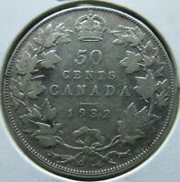 1932 CANADIAN SILVER 50 CENTS CANADA FIFTY CENT