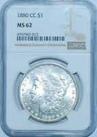 1880 CC NGC MINT STATE 62 CARSON CITY VAM-8 8/7 DASH REV OF 79 MORGAN SILVER DOLLAR