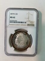 1879-S NGC MINT STATE 62 MORGAN SILVER DOLLAR CAMEO PROOF-LIKE OBVERSE