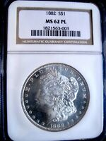 1882-P MORGAN DOLLAR, NGC MINT STATE 62 PL - THIS DATE IS  IN PROOF-LIKE