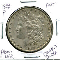 1888 P AU MORGAN DOLLAR 100 CENT  ABOUT UNCIRCULATED 90 SILVER US $1 COIN 1280