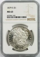 1879-S $1 NGC MINT STATE 63 MORGAN SILVER DOLLAR