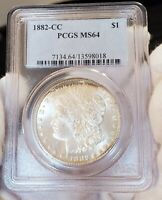 1882 CC PCGS MINT STATE 64 FROSTY LIGHTLY TONED GEM INCREDIBLE MORGAN SILVER DOLLAR 018