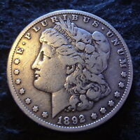 1892-S MORGAN SILVER DOLLAR - SOLID FINE F DETAILS FROM THE SAN FRANCISCO MINT
