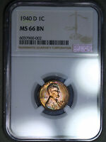 1940-D LINCOLN WHEAT CENT 1C NGC MINT STATE 66BN - COLORFUL RAINBOW TONING