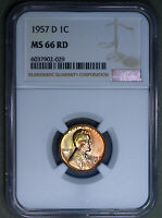 1957-D LINCOLN WHEAT CENT 1C NGC MINT STATE 66RD - COLORFUL TONING