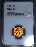 1955-S LINCOLN WHEAT CENT 1C NGC MINT STATE 66RD