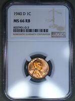 1940-D LINCOLN WHEAT CENT 1C NGC MINT STATE 66RB - COLORFUL TONING
