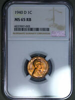 1940-D LINCOLN WHEAT CENT 1C NGC MINT STATE 65RB - COLORFUL TONING