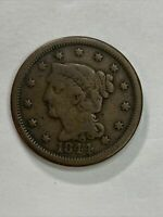 1844 BRAIDED HAIR LARGE CENT UNITED STATES OF AMERICA  AUCTI