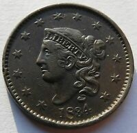 1834 CORONET HEAD LARGE CENT NICE DETAILS 1C PENNY COIN