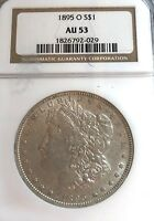 LOOK__1895-O NEW ORLEANS AU-53 NGC U.S. MORGAN SILVER DOLLAR-SEE OTHER DOLLAR