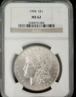 1904 P MORGAN SILVER DOLLAR NGC MINT STATE 62 UNCIRCULATED $1