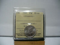 1965  CANADA  SILVER  QUARTER 25 CENT DOLLAR  COIN   I.C.C.S. GRADED MS 64