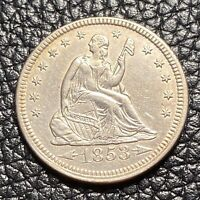 1853 PHILADELPHIA MINT SILVER SEATED LIBERTY QUARTER WITH AR