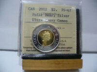 2002  CANADA 2$ TWO  DOLLAR  COIN  TOONIE  SILVER  GRADED PROOF 67   02