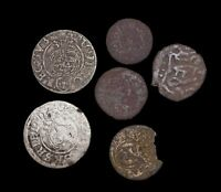 MIXED LOT OF 6 MEDIEVAL COINS FROM VARIOUS COUNTRIES SILVER