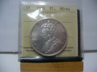 1936  CANADA  SILVER ONE DOLLAR  COIN   1$    I.C.C.S.   GRADED   MS 64