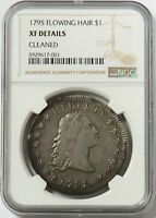 1795 SILVER UNITED STATES FLOWING HAIR $1 DOLLAR COIN NGC EXTRA FINE